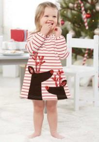 Rot Weiß-gestreifte Giraffe-Druck lange Hülse hübsches Weihnachtsniedliches Baby-Minikleid