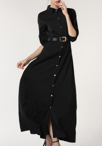 Black Belt Single Breasted Turndown Collar Long Sleeve Casual Maxi Dress