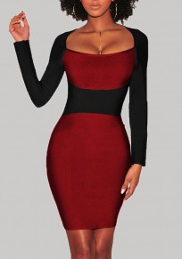 Burgundy Color Block Patchwork Long Sleeve Bodycon Pencil Formal Elegant Midi Dress
