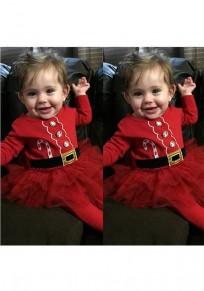 Mini vestido cuello redondo cinturón de diamantes de imitación adina rojo