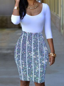 Silver Striped Patchwork Rhinestone Round Neck Mini Dress
