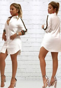 White Patchwork Single Breasted Turndown Collar V-neck Casual Mini Dress