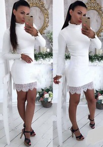White Patchwork Lace Draped High Neck Fashion Mini Dress