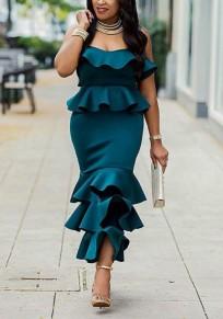 Dark Green Ruffle Bandeau Off Shoulder Backless Zipper Elegant Mermaid Party Midi Dress