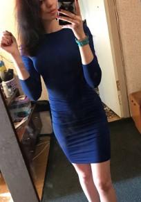 Mini abito incrociato tagliato girocollo blu scuro