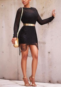 Black Cut Out Irregular Ripped Destroyed Distressed Sweater Mini Knitwear Jumper Dress