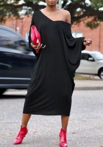 Black Cut Out Dolman Sleeve Baggy Backless Casual Midi Dress