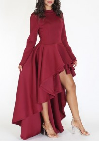 Red Ruffle Irregular Swallowtail High-Low Band Collar Party Maxi Dress
