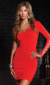 Mini robe découpes manches longues mode rouge