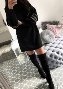 Mini robe pompon col rond à manches longues occasionnel noir