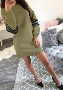Mini abito nappa girocollo manica lunga verde militare