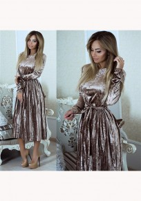 Grey Pleated Sashes Round Neck Fashion Midi Dress