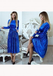 Light Blue Pleated Sashes Round Neck Fashion Midi Dress