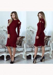 Wine Red Plain Cut Out Ruffle Long Sleeve Fashion Midi Dress