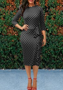 Black Polka Dot Ruffle Bodycon Formal 3/4 Sleeve Elegant Party Midi Dress