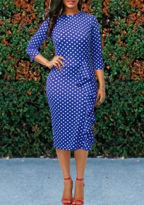 Blue Polka Dot Ruffle Bodycon Formal 3/4 Sleeve Elegant Party Midi Dress
