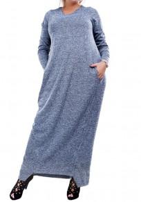 Blue Draped Pockets Plus Size Round Neck Long Sleeve Maxi Dress
