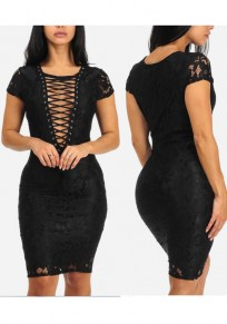 Black Patchwork Lace Lace-up Bandage Deep V-neck Bodycon Party Midi Dress