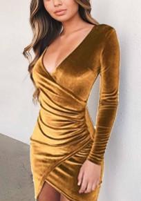 Mini abito arricciato irregolare stile scollatura giallo zenzero