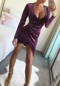 Mini robe manches volantées en cascade irrégulière v-col manches longues mode violet