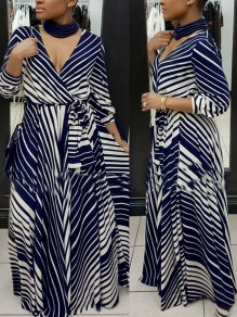 Blue-White Striped Print Sashes 3/4 Sleeve Deep V-neck High Waisted Bohemian Maxi Dress