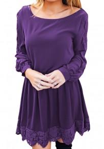 Mini abito pizzo girocollo moda viola