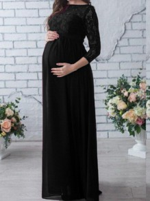 Black Patchwork Draped Lace Sashes Maternity For Babyshower Long Sleeve Maxi Dress