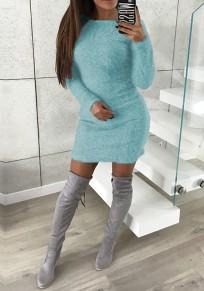 Blue Round Neck Long Sleeve Sweet Mini Dress