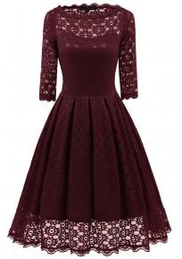 Wine Red Patchwork Lace Irregular Round Neck Elbow Sleeve Midi Dress