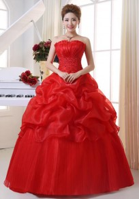 Red Patchwork Bandeau Cross Back Backless Grenadine Wedding Gowns Tutu Maxi Dress