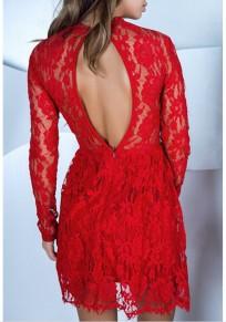 Mini-robe en dentelle dos nu manches longues élégant rouge