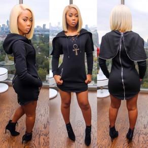 Schwarz Kordelzug Taschen mit Kapuze Langarm Mode Minikleid