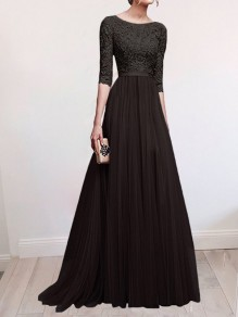 Black Patchwork Lace Draped Slit Flowy Banquet Bridesmaid Elegant Elbow Sleeve Maxi Dress