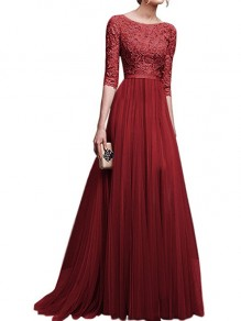 Burgundy Patchwork Lace Draped Slit Flowy Banquet Bridesmaid Elegant Elbow Sleeve Maxi Dress