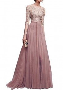Pink Patchwork Lace Draped Slit Flowy Banquet Bridesmaid Elegant Elbow Sleeve Maxi Dress