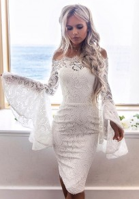 White Lace Off-shoulder Boat Neck Flare Sleeve Elegant Midi Dress