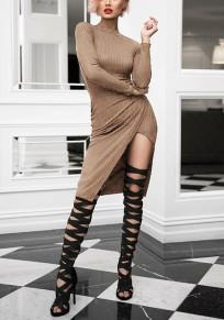 Khaki Irregular Cut Out Round Neck Fashion Midi Dress