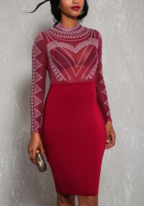 Burgundy Mosaic Rhinestone Grenadine Bodycon Round Neck Clubwear Party Midi Dress