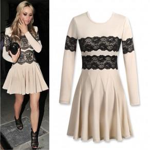 Apricot Lace Round Neck Long Sleeve Fashion Mini Dress