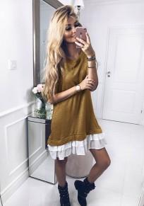 Khaki Ruffle Round Neck Long Sleeve Fashion Mini Dress