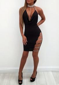 Black Rhinestone Glitter Sparkly Halter Neck Backless Bodycon Birthday NYE Party Mini Dress