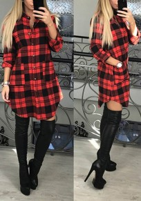 Red Plaid Single Breasted Band Collar Fashion Mini Dress