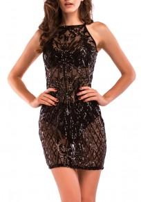 Mini vestido cordón lentejuelas adina correa de espagueti bodycon clubwear negro