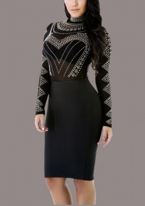 Black Mosaic Rhinestone Grenadine Bodycon Band Collar Party Midi Dress