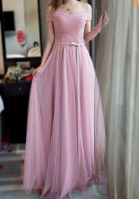 Robe maxi grenade noeud papillon encolure bateau manches courtes rose
