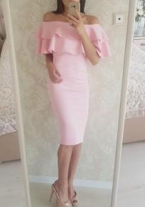 Vestido A media pierna peplo con cuello barco manga corta dulce rosa