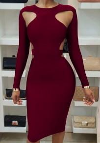Burgundy Cut Out Bodycon Long Sleeve Clubwear Party Pencil Midi Dress