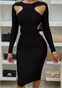 Black Cut Out Bodycon Long Sleeve Clubwear Party Pencil Midi Dress