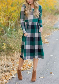 Green Plaid Print Pockets Long Sleeve High Waisted A-line Christmas Party Midi Dress