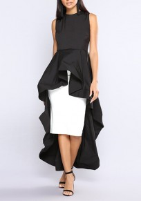 Black Ruffle Swallowtail High-Low Banquet Elegant Party Maxi Dress
